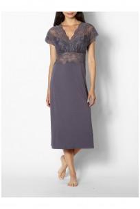 Chemise de nuit / robe d'intérieur manches courtes et décolleté en V en dentelle - Ligne Gisèle