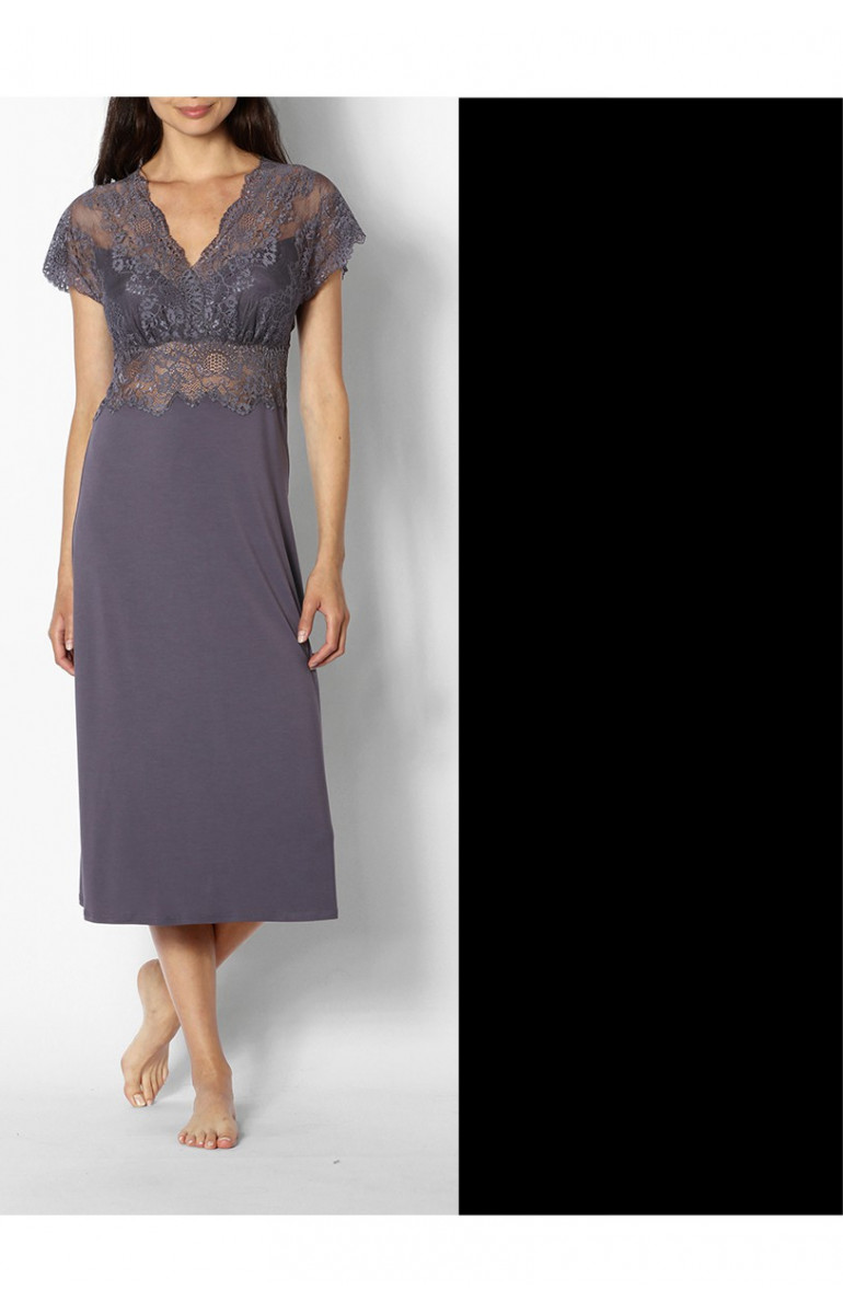 Chemise de nuit / robe d'intérieur manches courtes et décolleté en V en dentelle - Ligne Gisèle - Coemi-Lingerie