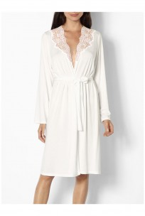 Knee-length dressing gown with lace-trimmed neck and backline - Gisele range