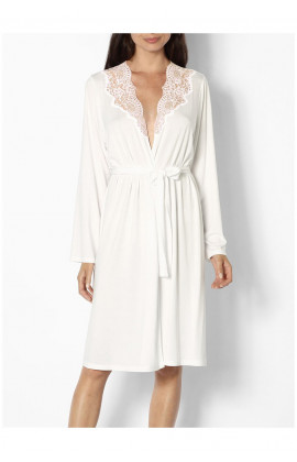 Knee-length dressing gown with lace-trimmed neck and backline