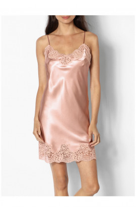 Satin and lace nightdress with straps that cross at the back - Roselie range