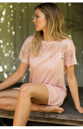 Chemise de nuit forme tunique manches courtes - Ligne Gigi - Coemi-Lingerie