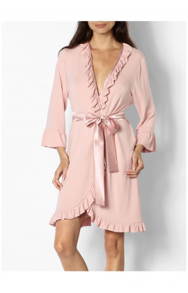 Romantic knee-length dressing gown with satin tie belt - Gigi range