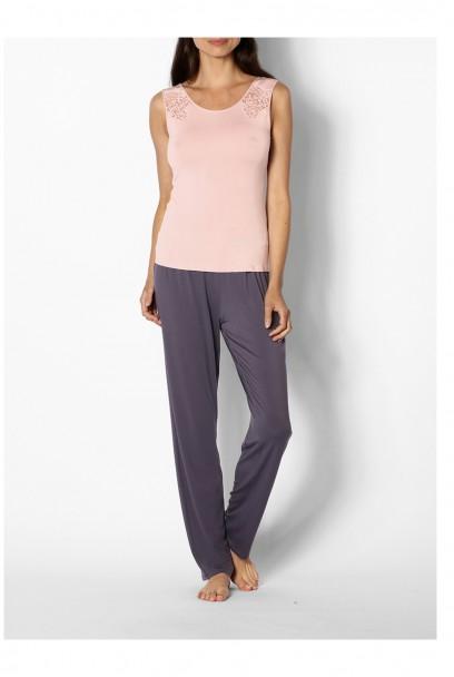 Pyjama bicolore top sans manche, col rond et dentelle - Lne Gigi - Coemi-Lingerie