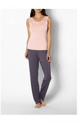 Two-tone pyjamas with sleeveless, lace-trimmed round neck top