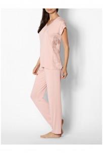 Pyjama uni décolleté rond manche courte et dentelle - Ligne Gigi - Coemi-Lingerie