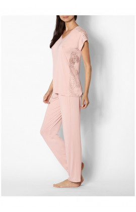 Soft pink pyjamas with short-sleeved round neck top featuring lace on sides and shoulders