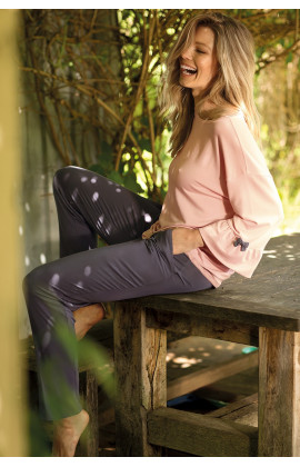 Pyjama bicolore col rond manches ¾ évasées - Ligne Gigi