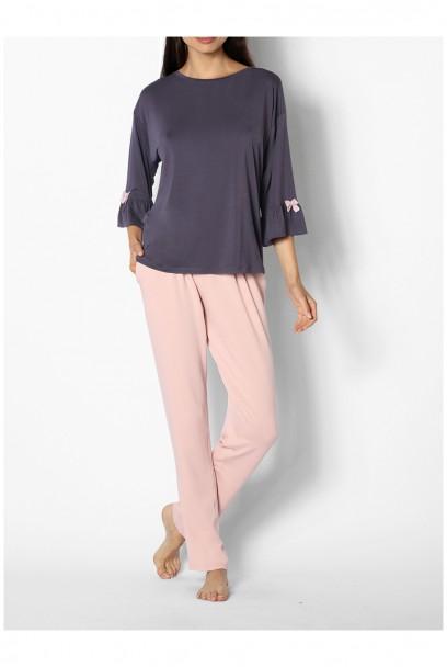 Pyjama bicolore col rond manches ¾ évasées - Ligne Gigi - Coemi-Lingerie