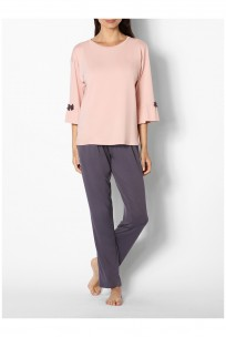 Two-tone pyjamas with round neck top featuring flared three-quarter sleeves - Gigi range