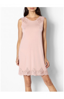 A sleeveless lace-trimmed tunic nightdress
