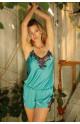 Combishort  1 pièce satin et dentelle - fines bretelles croisées dans le dos- Ligne Eternal Glam coemi-lingerie