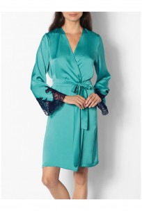 Satin and lace kimono-style dressing gown