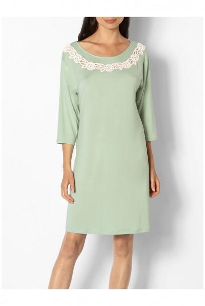 Chemise de nuit arrivant aux genoux forme tunique col rond - Ligne June coemi-lingerie