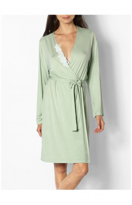 Classic knee-length dressing gown with lace insert  - June range