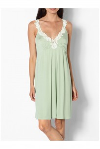 Nightdress with plunging neckline and thin lace-decorated straps