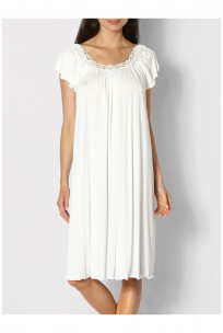 A loose-fitting nightdress with round neck and short flared sleeves