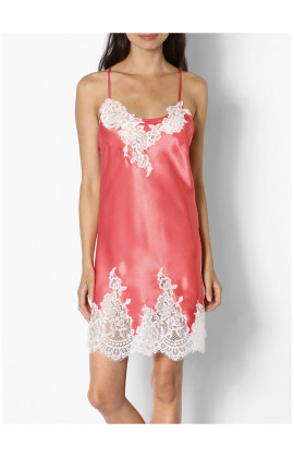 Satin nightdress with lace inserts and thin straps that cross at the back