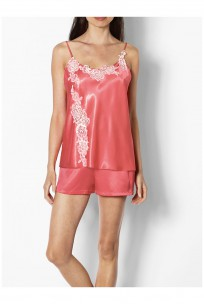 Two-piece satin nightset with thin straps and lace inserts