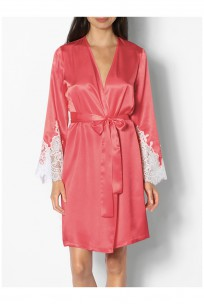 Knee-length satin dressing gown with lace inserts on the cuffs - Klaire range