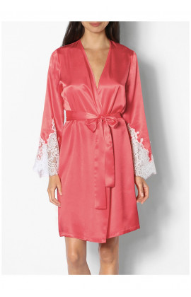 Knee-length satin dressing gown with lace inserts on the cuffs