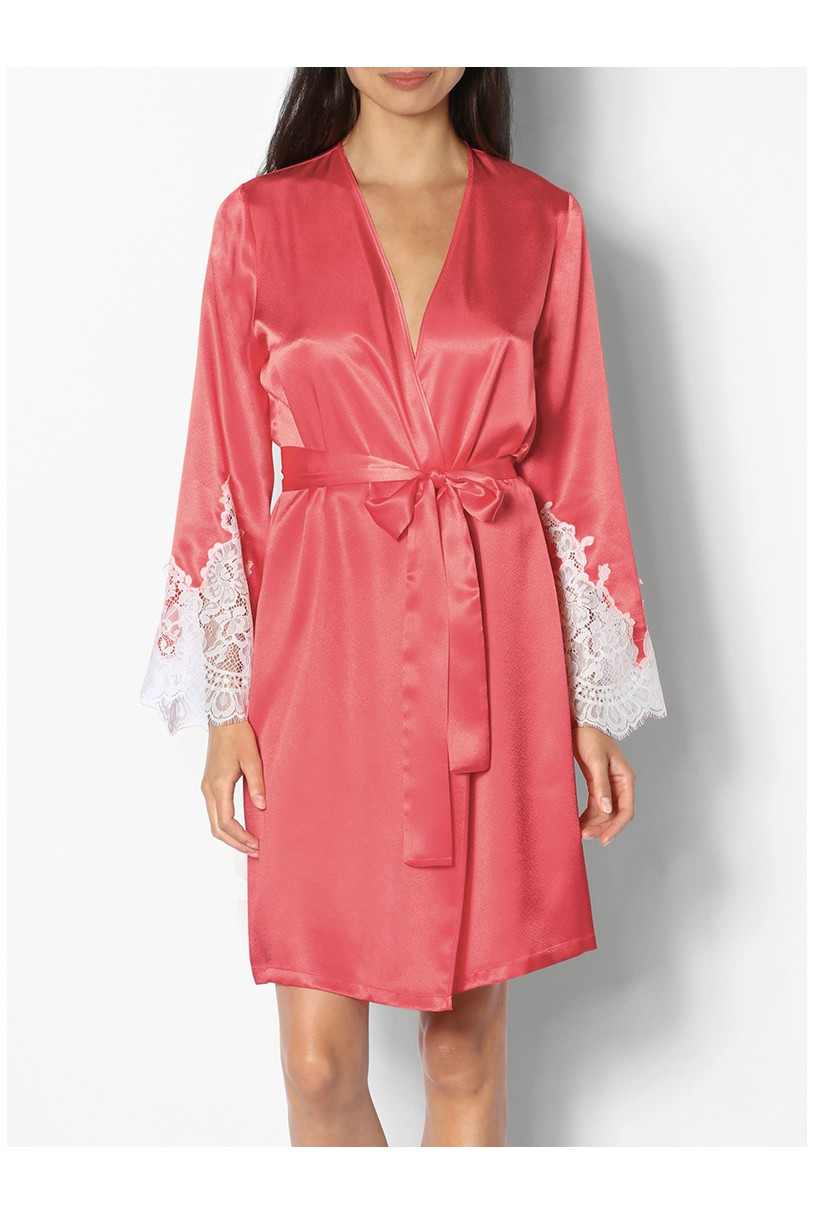 Knee Length Satin Dressing Gown With Lace Inserts On The