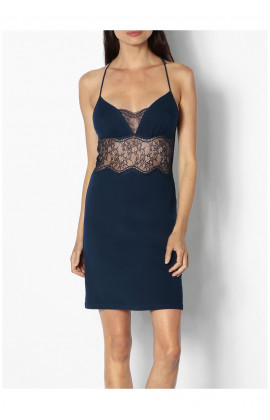 Nightdress with thin straps, pretty neckline and lace racer back