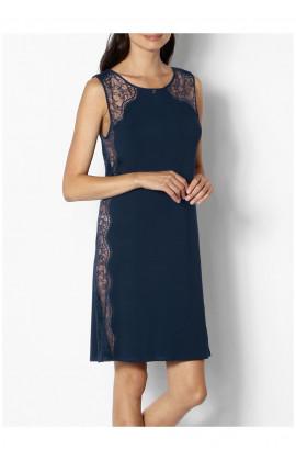 Loungewear nightdress with round neck and lace inserts - Palmer range