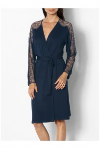 Long-sleeved knee-length dressing gown with lace detail