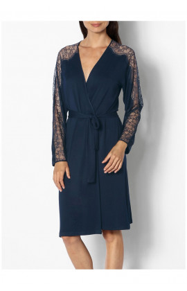 Long-sleeved knee-length dressing gown with lace detail - Palmer range