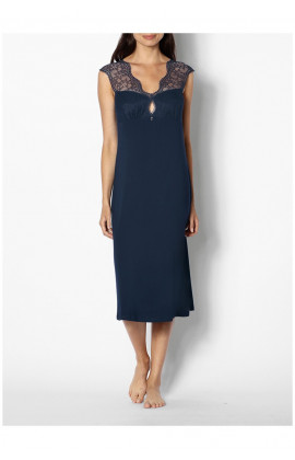 Long, sleeveless nightdress with V-shaped lace neckline - Palmer range