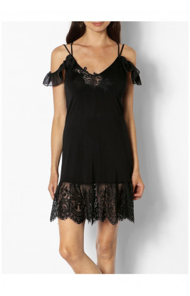 Babydoll with thin straps and lace inserts