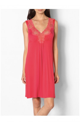 Short sleeveless loungewear nightdress with lace inserts