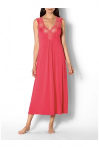 Long sleeveless loungewear nightdress with lace inserts - Allure range