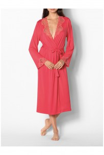 Long long-sleeved dressing gown with lace trim
