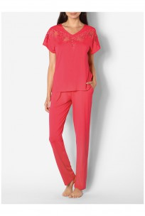 Two-piece pyjamas with short sleeves and lace inserts