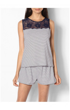 Two-piece plain or striped nightset comprising sleeveless top with lace insert