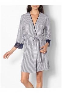 Gestreifter Kimono mit ¾-Ärmeln und Spitzenbesatz - Reihe Saylor
