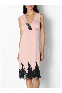 Sleeveless loungewear nightdress with V-neck and lace detail  - Odele range