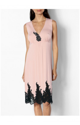Sleeveless loungewear nightdress with V-neck and lace detail