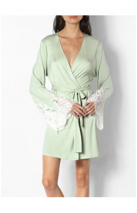 Mid-thigh length dressing gown with lace-trimmed long sleeves