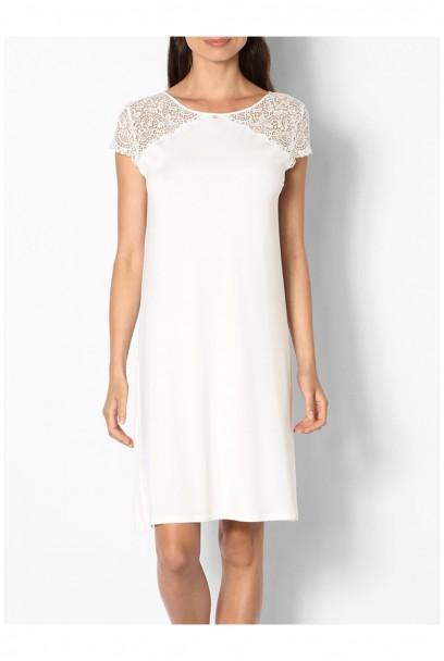 Chemise de nuit / robe d'intérieur manches courtes dentelle  Ligne Ella coemi-lingerie