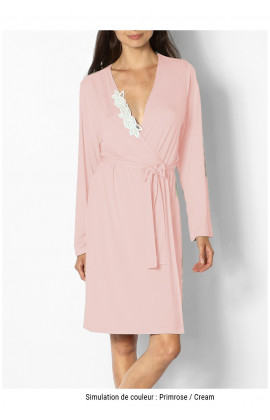 Classic knee-length dressing gown with lace insert