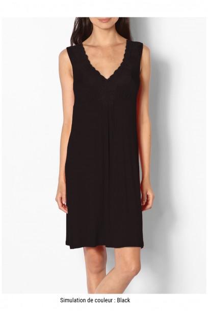 Short sleeveless loungewear nightdress with lace inserts - Allure range