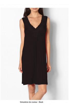 Short sleeveless loungewear nightdress with lace inserts - Allure range