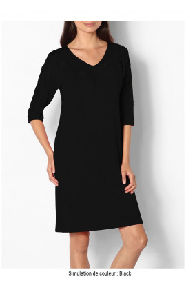 Tunic nightdress with three-quarter sleeves and lace-trimmed V-neck - Allure range