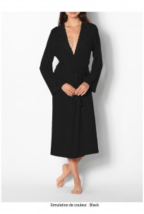 Long long-sleeved dressing gown with lace trim - Allure range