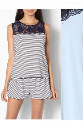 Two-piece plain or striped nightset comprising sleeveless top with lace insert - Saylor range