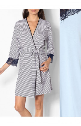 Striped dressing gown with lace-trimmed three-quarter sleeves - Saylor range