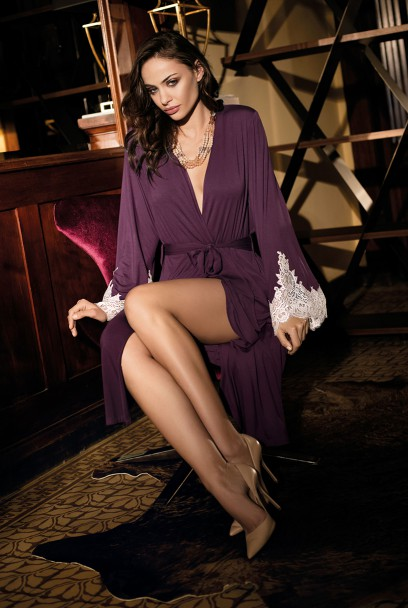 Dressing gown Angelina mid-length long sleeves and lace
